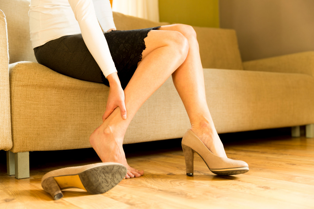 woman with cracked heels